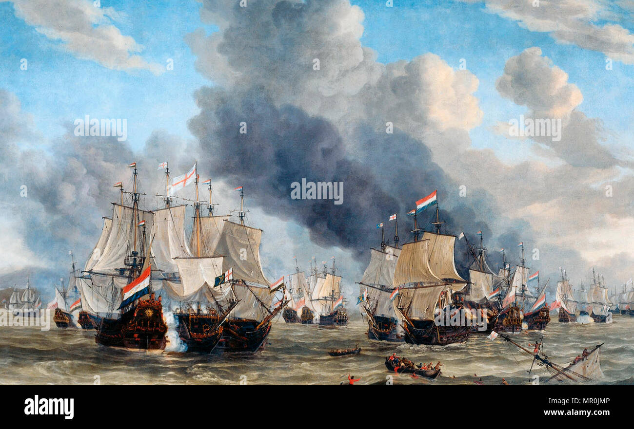 The naval battle near Livorno, March 14, 1653. Reinier Nooms - Stock Image