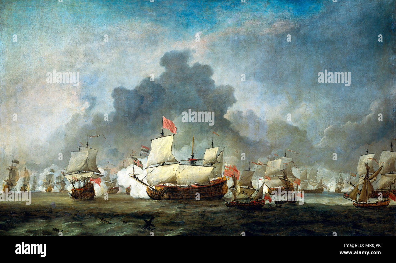The skirmish of Michiel Adriaensz de Ruyter against the duke of York, commanding the 'Royal Prince' during the Battle of Solebay, June 7, 1672: episode from the Third Anglo-Dutch War (1672-1674). Willem van de Velde (II), 1691 - Stock Image