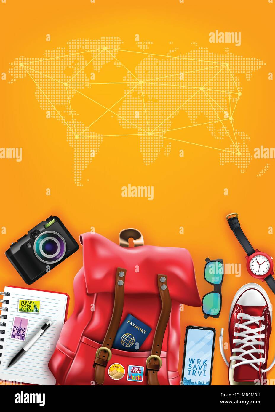 d6266e055b Travel Poster Top View Template with Space for Text and World Map with  Realistic 3D Items for Travelling Like Backpack
