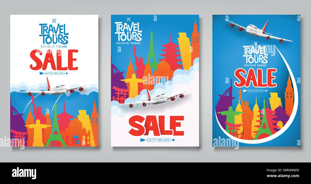 travel and tours sale promotional posters template set with colorful