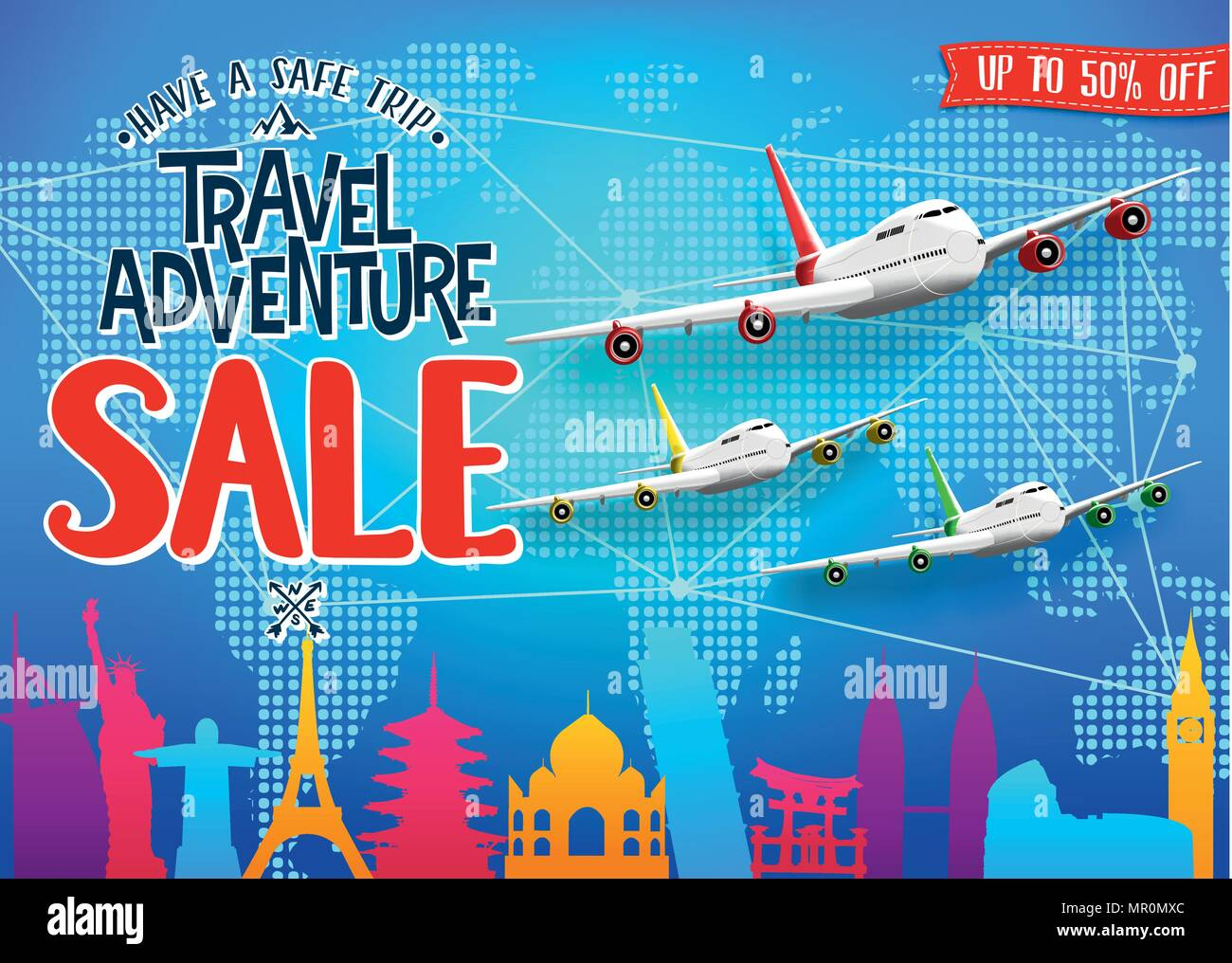 Creative Travel Adventure Sale Promotional Banner With Colorful World Famous Landmarks Silhouette And Airplanes For Advertisement Purposes Vector