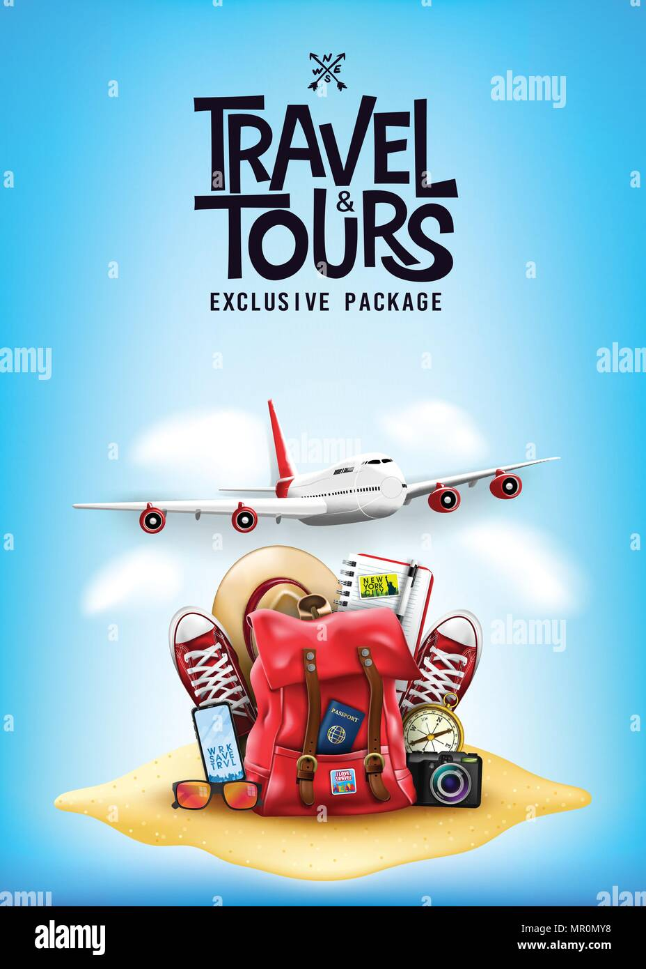 e4f30b3166 Travel and Tours Poster with 3D Realistic Travel Items Like Airplane ...
