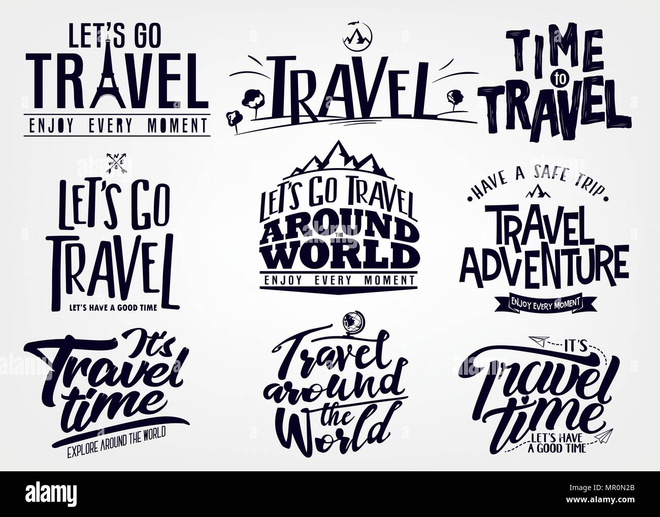 Set of Travel and Adventure Vector Lettering, Calligraphy ...