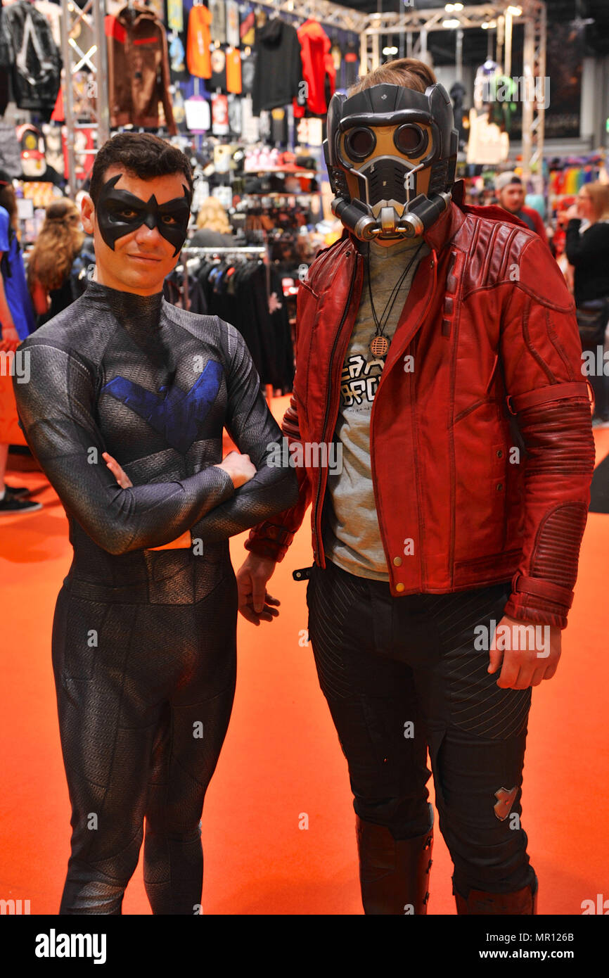 Cosplay enthusiasts on the opening day of MCM London Comic Con at the ExCel  Centre in East London e7e05190cdcc9