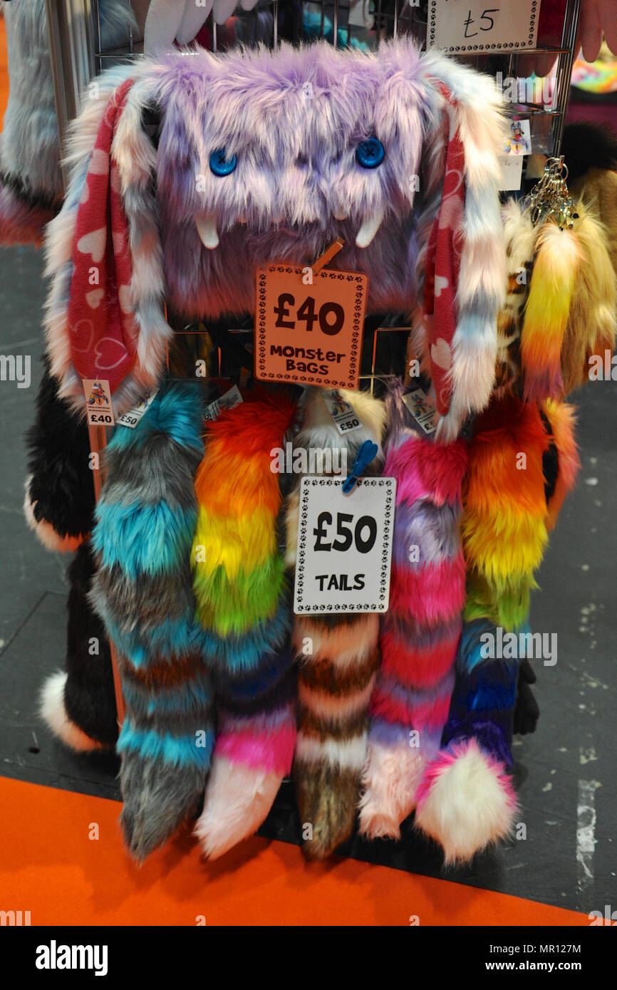Furry bags and tail accessories on sale on the opening day of MCM London  Comic Con at the ExCel Centre in East London c8427c42e942a