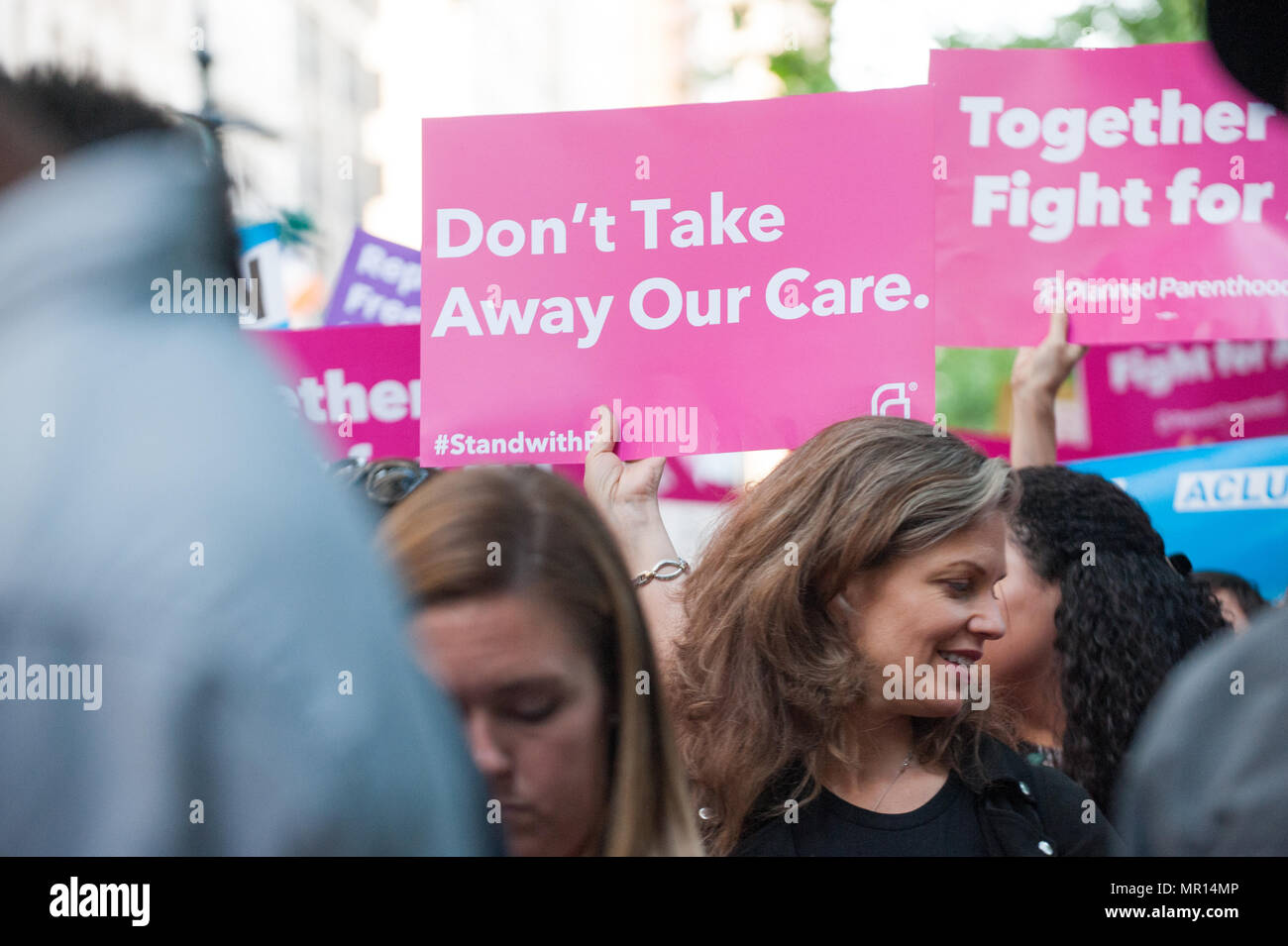 Title X (Title Ten) gag rule rally in New York City, hosted by Planned Parenthood of New York City on May 24th 2018, reacting the President Trump's attempt to ban Medicaid and federal funding to medical providers who provide full, legal medical information to patients wanting or needing abortion services. - Stock Image