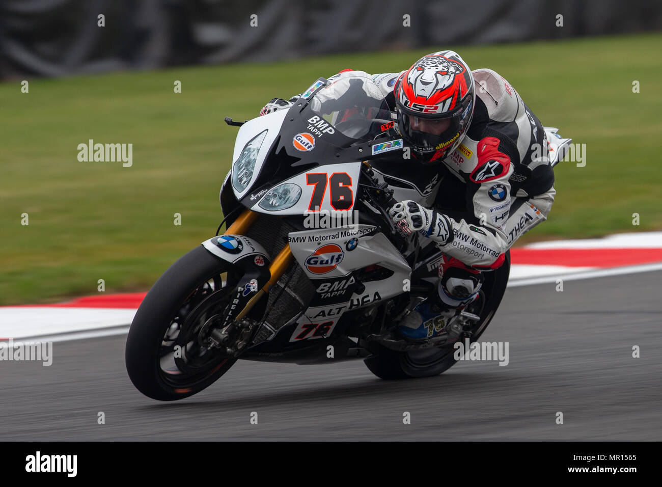 Donington Park Circuit, Derby, UK. 25th May, 2018. World Superbikes, Prosecco DOC UK Round 6, Friday free practice; Loris Baz riding a Gulf Althea BMW Racing Team BMW S 1000 RR Credit: Action Plus Sports/Alamy Live News Stock Photo