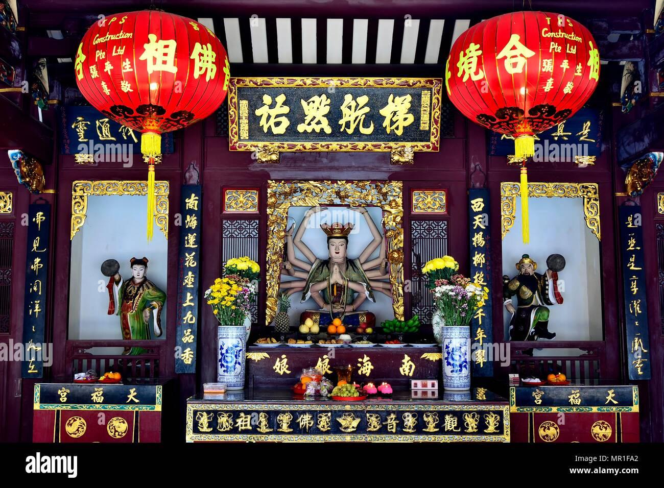 Singapore - May 15th 2018: Chinese Buddhist Taoist shrine decorated for Vesak Day to honour Buddha in Historic Telok Ayer, Singapore - Stock Image