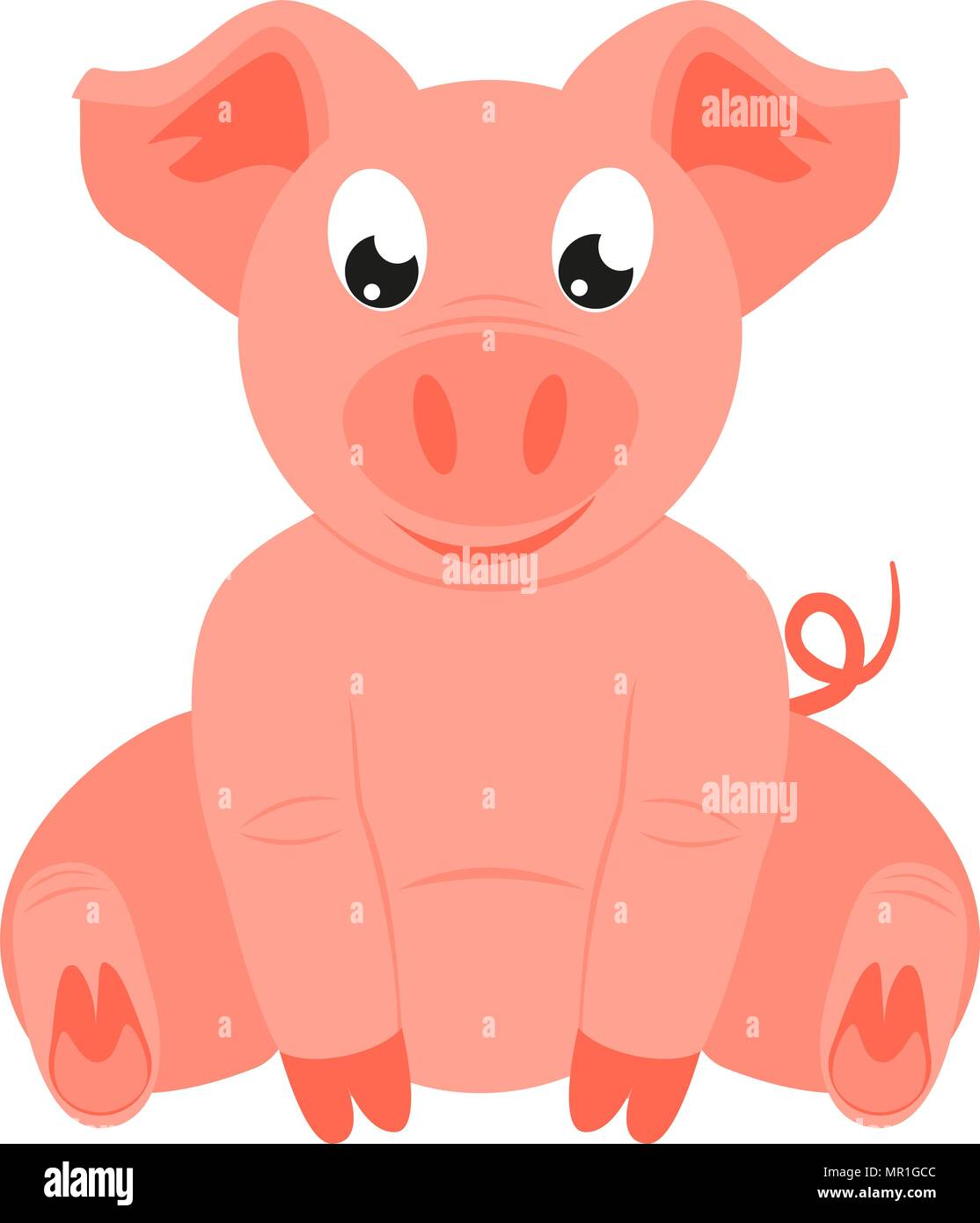 Colorful Cartoon Happy Sitting Pig 2019 Year Chinese Symbol Farm