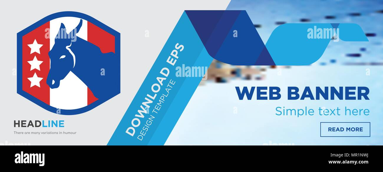 democratic party concept horizontal webpage banner template design on abstract background with flat modern isolated vector icon and geometric shapes - Stock Image