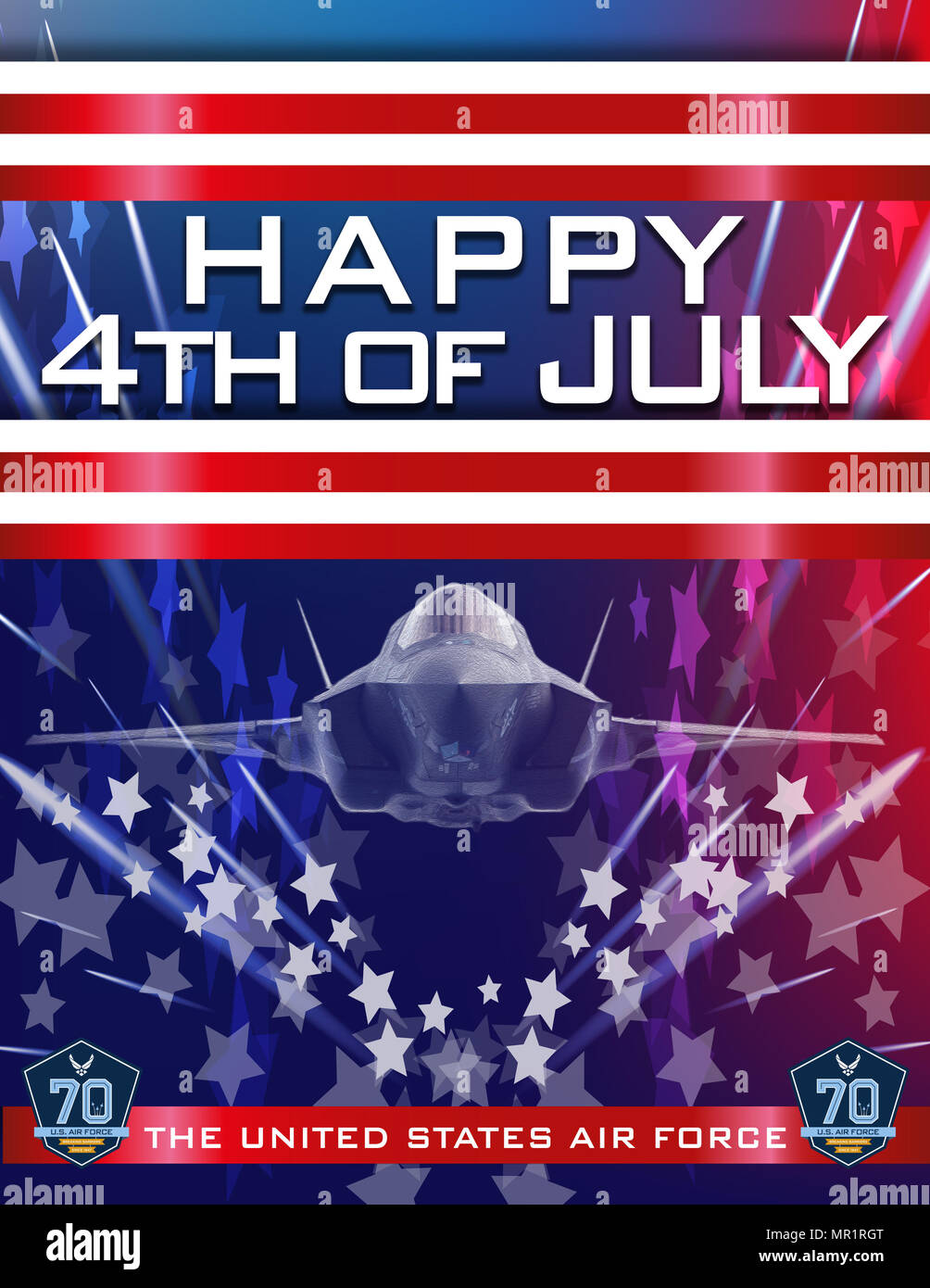 Patriotic Happy 4th Of July Celebration Poster With Af 70th Birthday