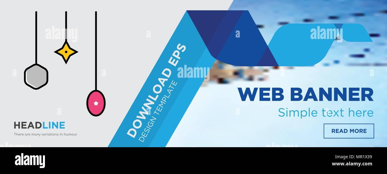christmas bulb concept horizontal webpage banner template design on