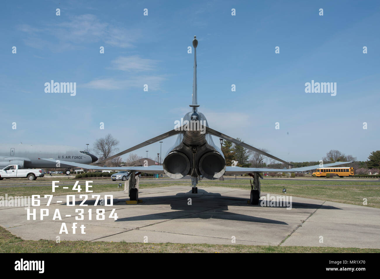 An aft view of a 108th Wing, New Jersey Air National Guard, F-4E sitting on display at Joint Base McGuire-Dix-Lakehurst, New Jersey, April 3, 2017. F4-E, 67-0270, HPA-3184, Aft Stock Photo