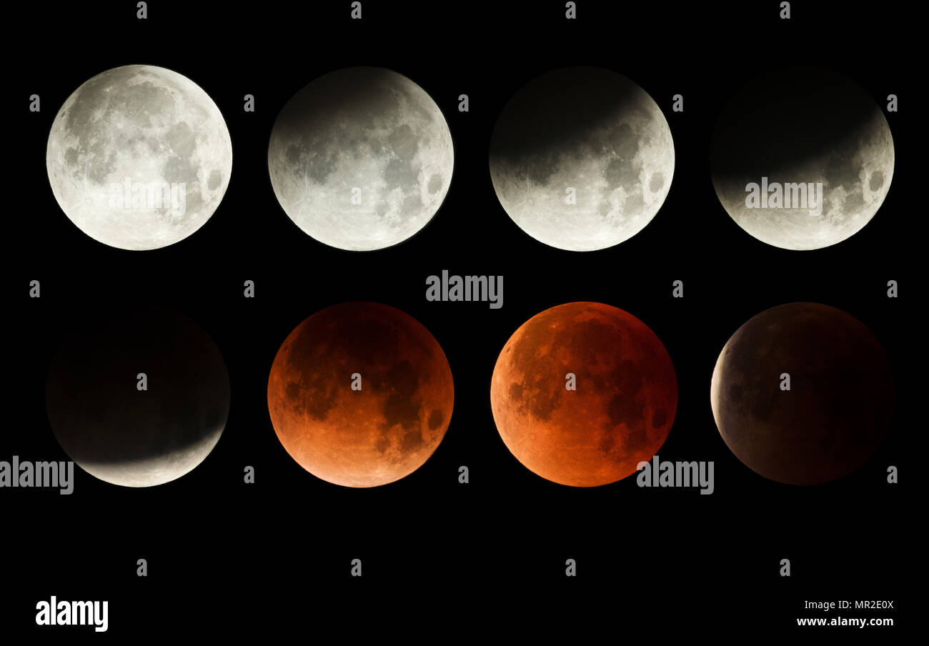 series of the lunar eclipse of the moon with blood moon - Stock Image