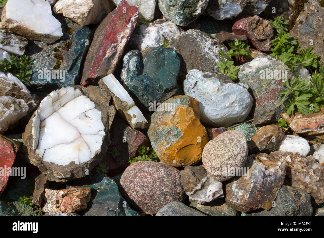 Minerals or clasts, igneous, sedimentary and metamorphic rocks of Icelanz - Stock Image