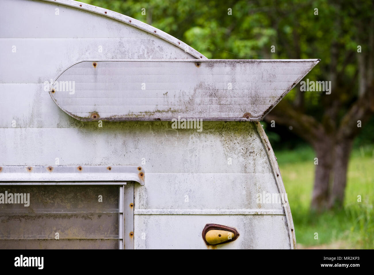 Decorative wing on camper trailer - Stock Image