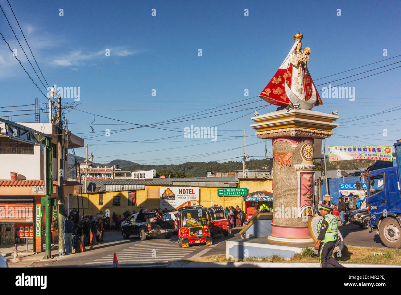 Solola, Guatemala - December 9, 2016: Mary with baby Jesus statue at the roads intersection in the small highlands town of Solola, Guatemala. - Stock Image