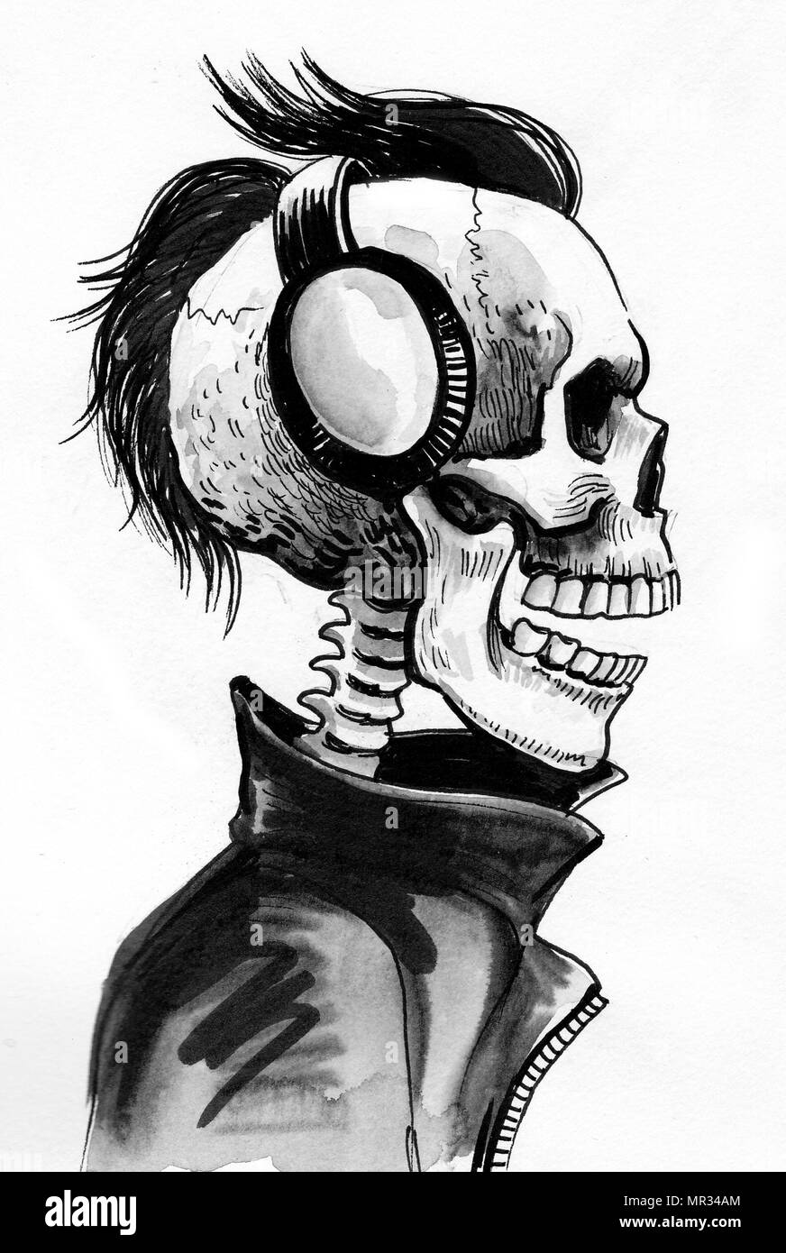 Cool skeleton in leather jacket and headphones ink black and white drawing