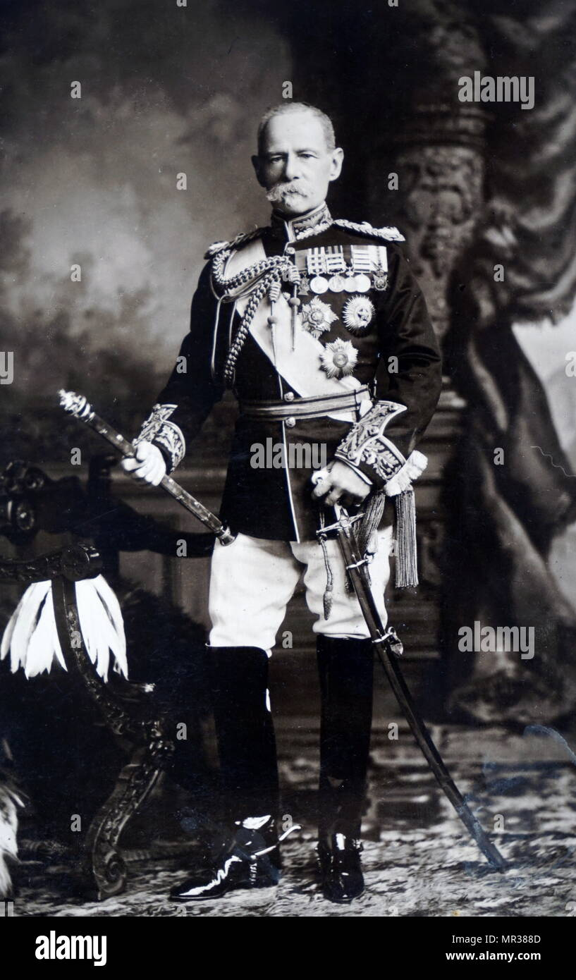 Photograph of Frederick Roberts, 1st Earl Roberts (1832-1914) a British soldier and successful commander during the 2nd Afghan War. Dated 19th century - Stock Image