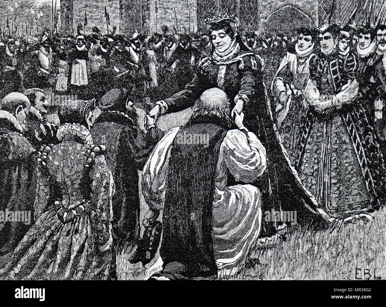Engraving depicting Mary, Queen of Scots being greeted by state prisoners in the Tower of London. Mary, Queen of Scots (1542-1587) also known as Mary Stuart or Mary I, reigned over Scotland from 1542-1567. She was found guilty of plotting to assassinate Queen Elizabeth I in 1586 and was beheaded the following year. Dated 16th century - Stock Image