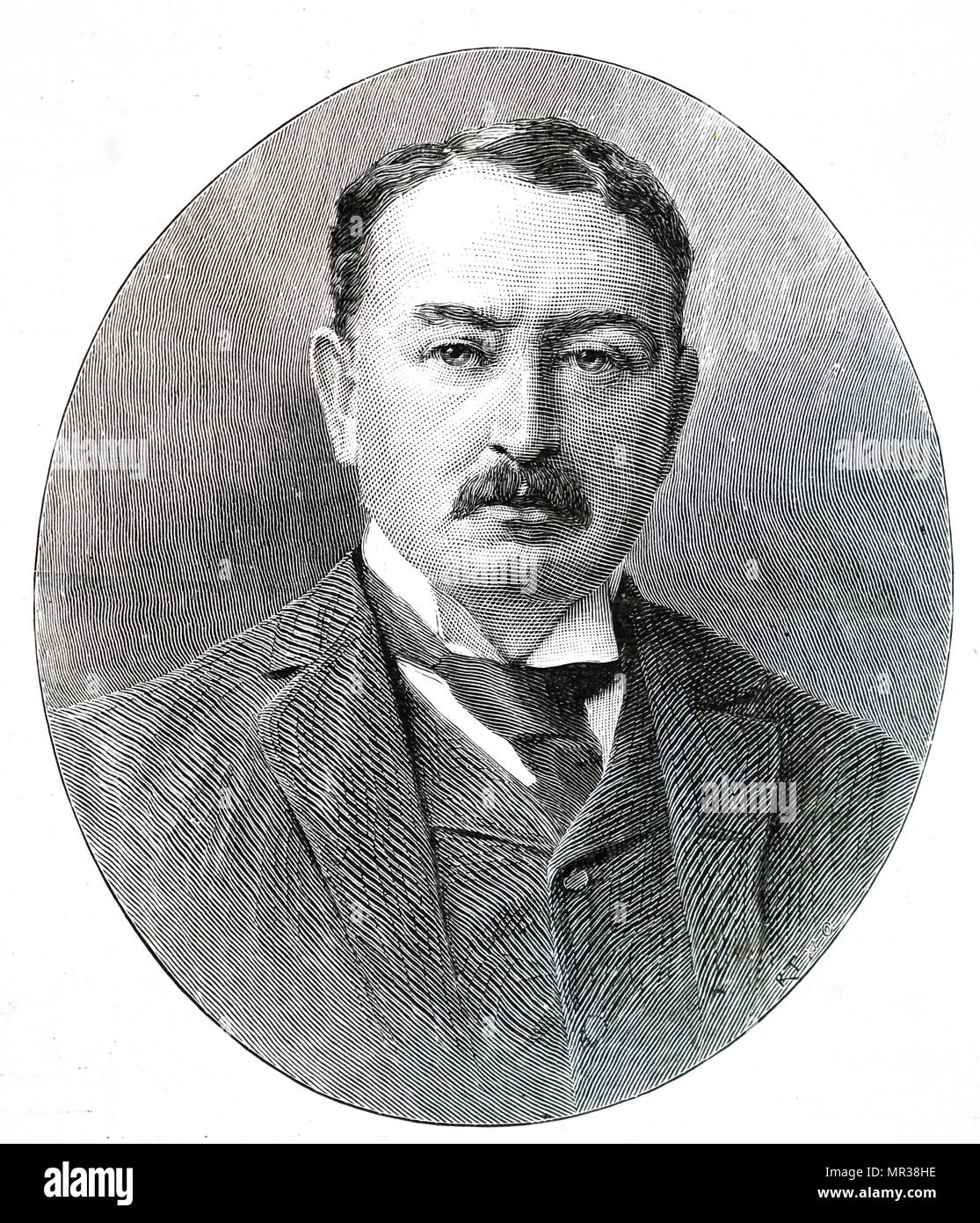 Portrait of Cecil Rhodes (1853-1902) a British businessman, mining magnate, politician and former Prime Minister of the Cape Colony. Dated 19th century - Stock Image