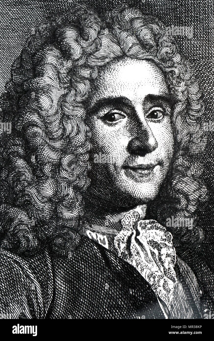 Portrait of René Antoine Ferchault de Réaumur (1683-1757) a French entomologist and writer who contributed to many different fields, especially the study of insects. Dated 18th century - Stock Image