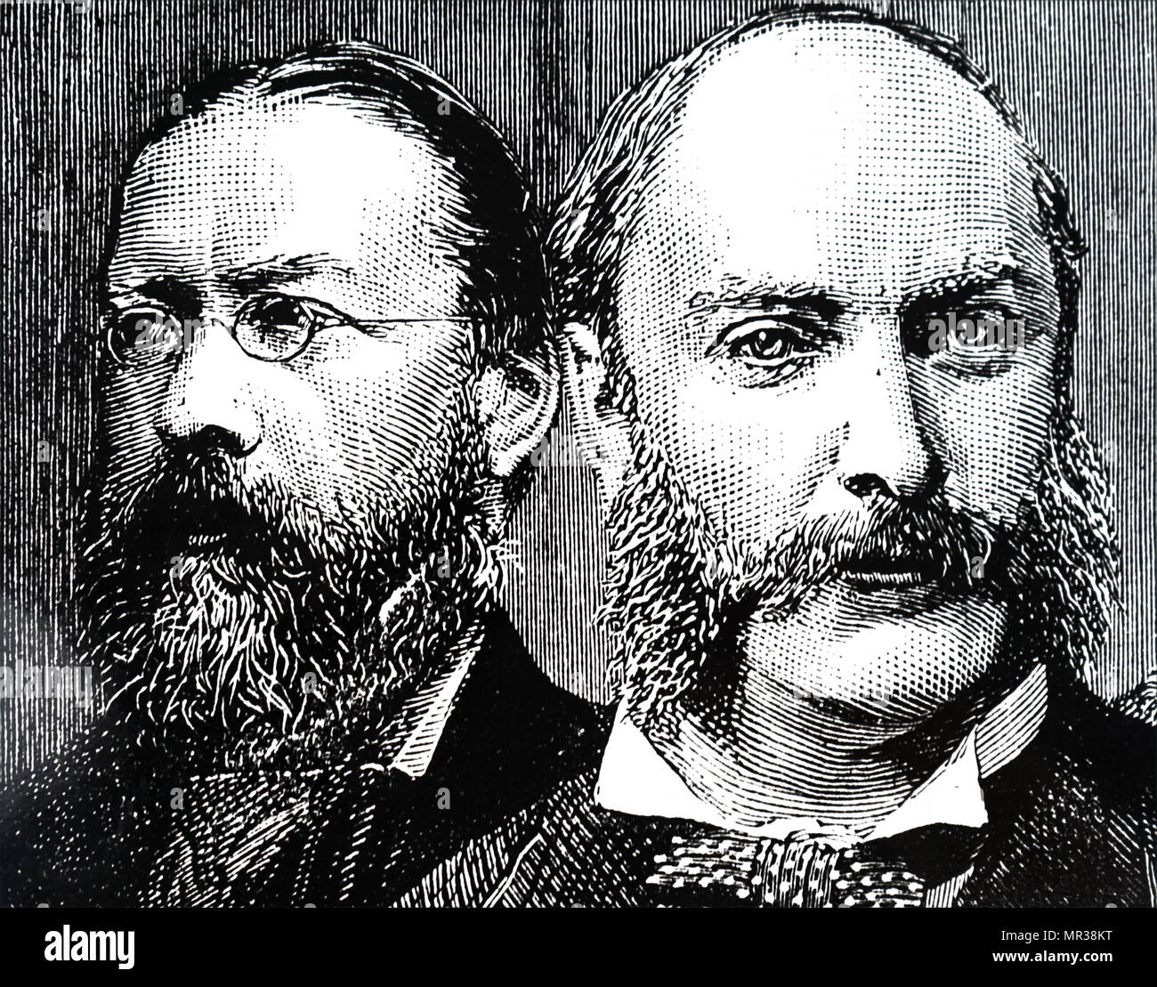 Engraving depicting William Henry Preece and John William Strutt, 3rd Baron Rayleigh. Sir William Henry Preece (1834-1913) a Welsh electrical engineer and inventor. John William Strutt, 3rd Baron Rayleigh (1842-1919) a physicist who, with William Ramsay, discovered argon, an achievement for which he earned the Nobel Prize for Physics in 1904. Dated 19th century - Stock Image