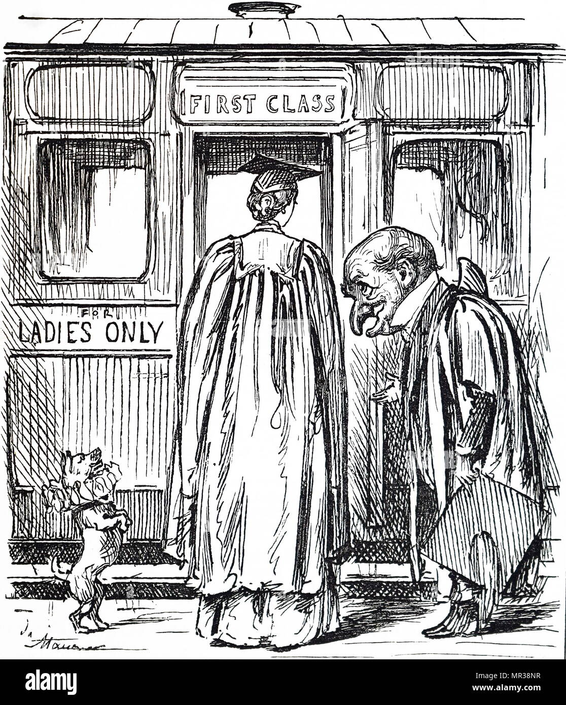 Cartoon depicting Agnata Frances Ramsay, the first woman to pass with First Class honours from Cambridge University, although she did not receive her degree as women were not given them at the time. Illustrated by George du Maurier (1834-1896) a Franco-British cartoonist and author. Dated 19th century Stock Photo