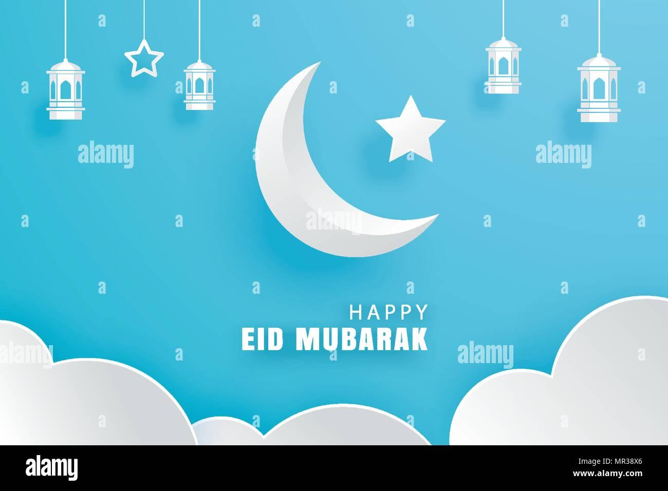 Eid mubarak greeting card stock photos eid mubarak greeting card happy eid mubarak greeting card with with crescent moon paper art background ramadan kareem vector m4hsunfo
