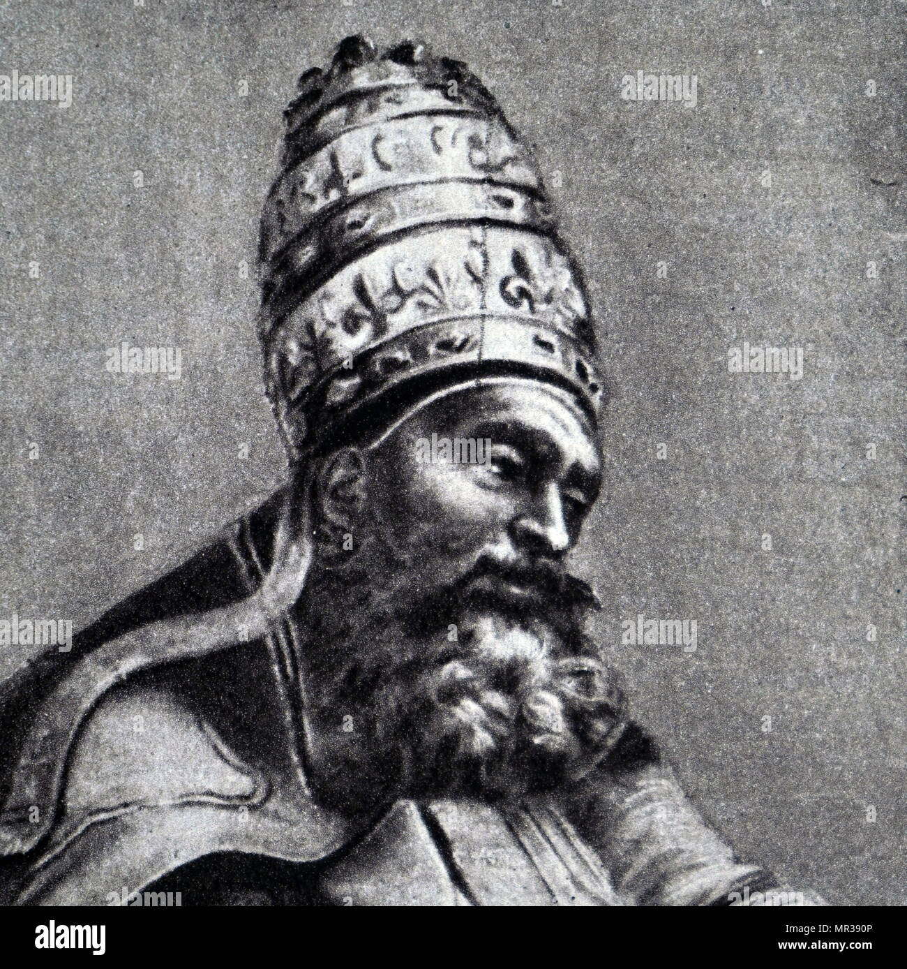 Portrait of Pope Gregory VII (1020-1085) one of the great reforming popes. Dated 11th century - Stock Image