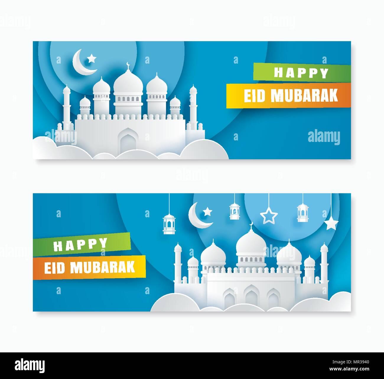 Eid mubarak greeting card stock photos eid mubarak greeting card happy eid mubarak greeting card with mosque and crescent moon paper art background ramadan kareem m4hsunfo