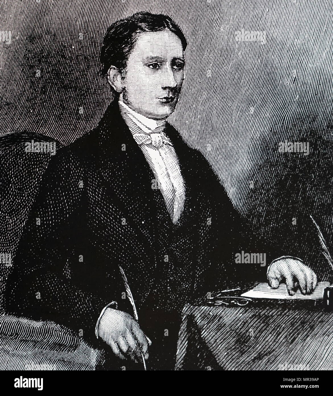 Portrait of Isaac Pitman (1813-1897) an English teacher who developed the most widely used system of shorthand, known now as Pitman shorthand. Dated 19th century - Stock Image