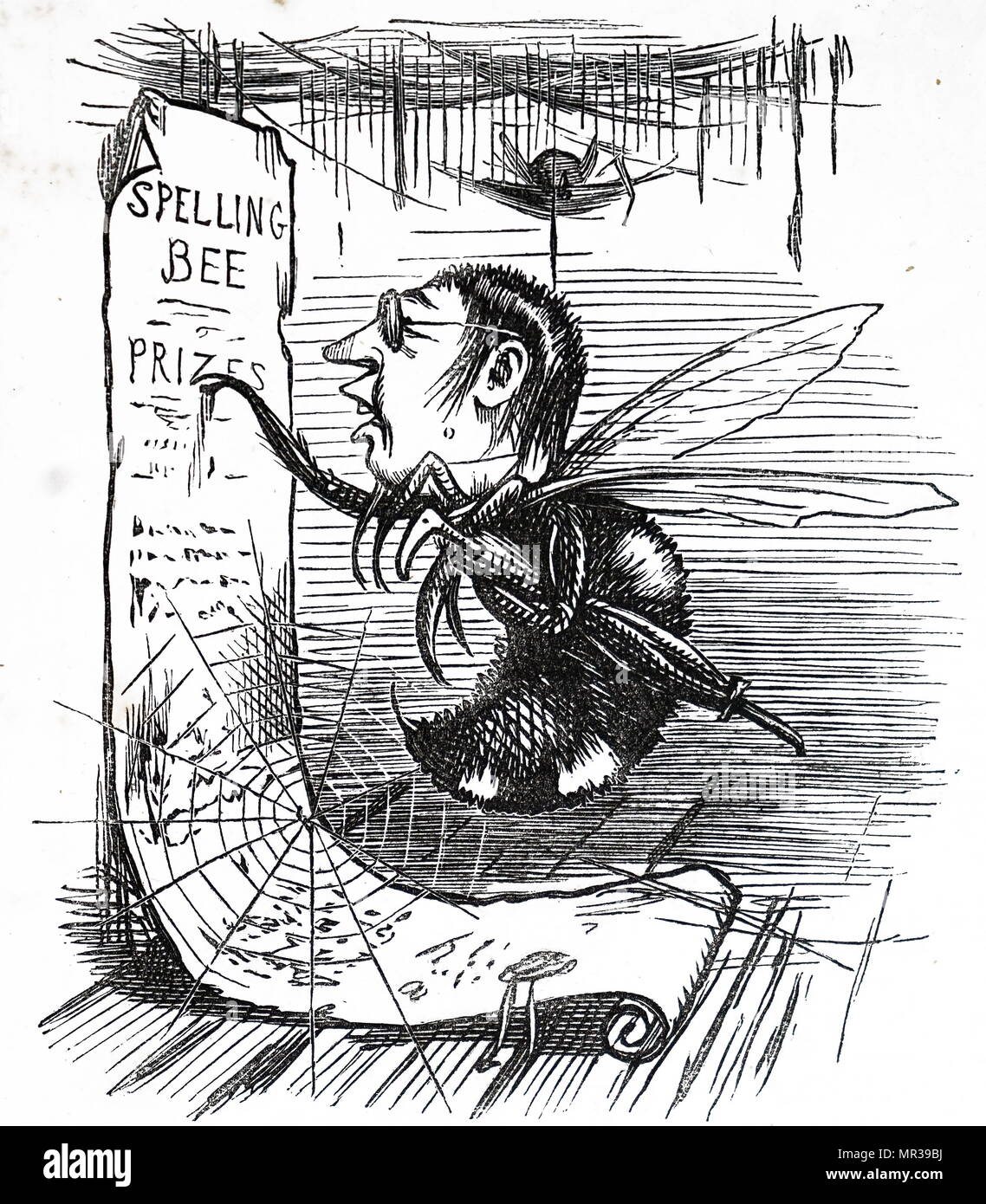 Cartoon depicting Isaac Pitman as a 'spelling bee'. Isaac Pitman (1813-1897) an English teacher who developed the most widely used system of shorthand, known now as Pitman shorthand. Dated 19th century - Stock Image
