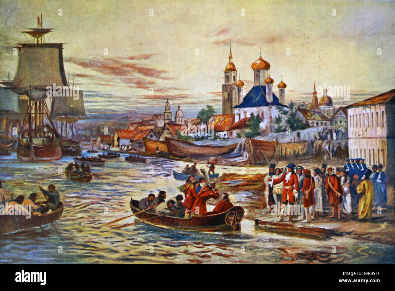 Painting depicting Peter the Great's naval preparations. Peter the Great ( 1672-1725) ruler of the Tsardom of Russia and later the Russian Empire.
