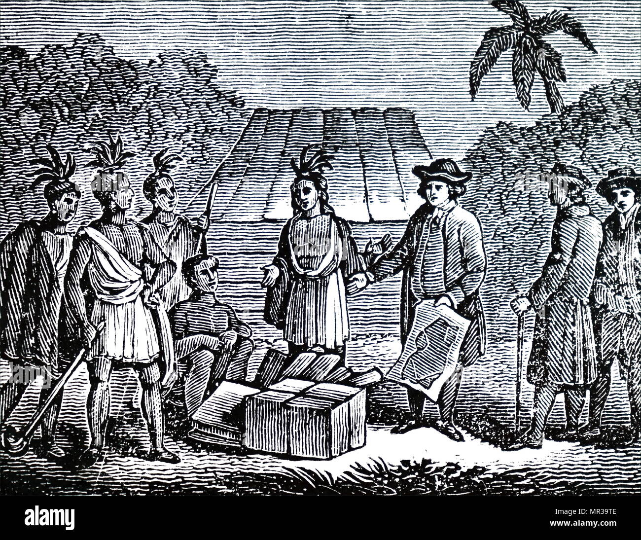 Engraving depicting William Penn treating with Indians. William Penn (1644-1718) an English real estate entrepreneur, philosopher, early Quaker, founder of the State of Pennsylvania. Dated 19th century Stock Photo