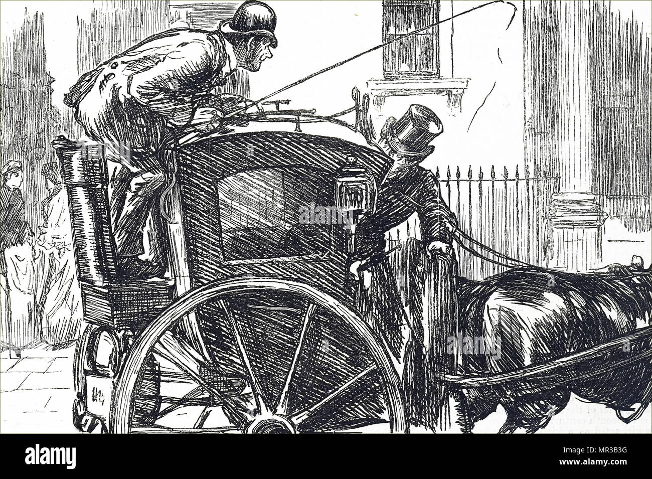Illustration depicting an early Hackney Carriage, showing the driver's position behind and overlooking the passenger seat. Dated 19th century - Stock Image