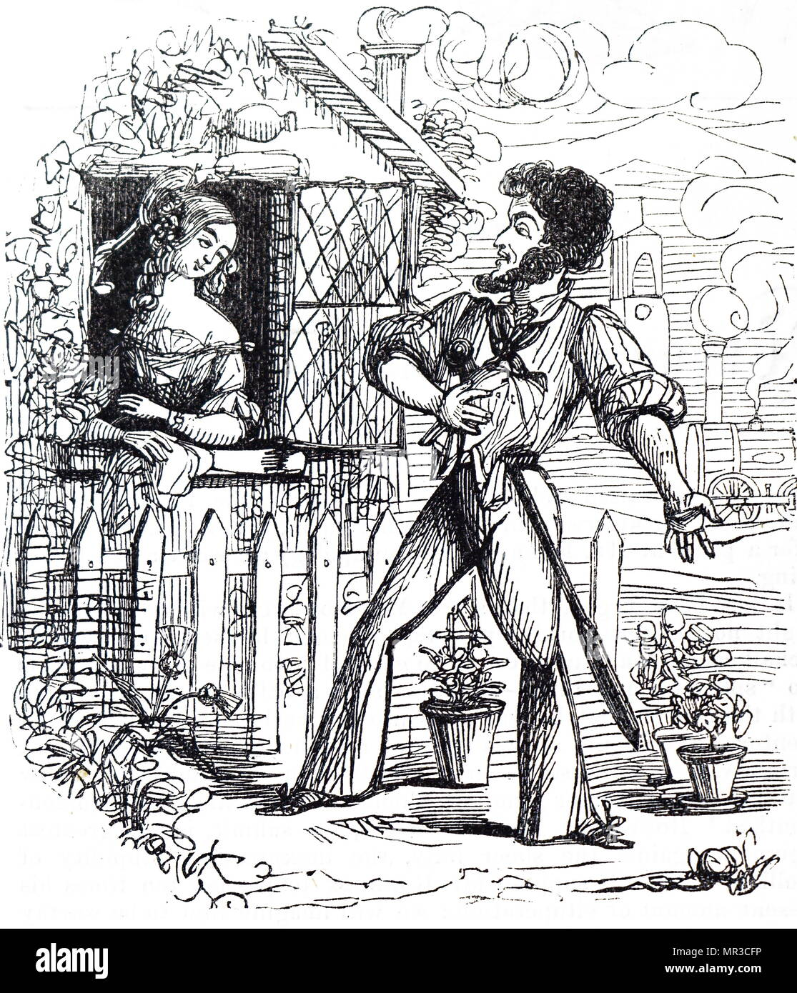 Cartoon depicting a satirical version of Romeo and Juliet. Dated 19th century - Stock Image