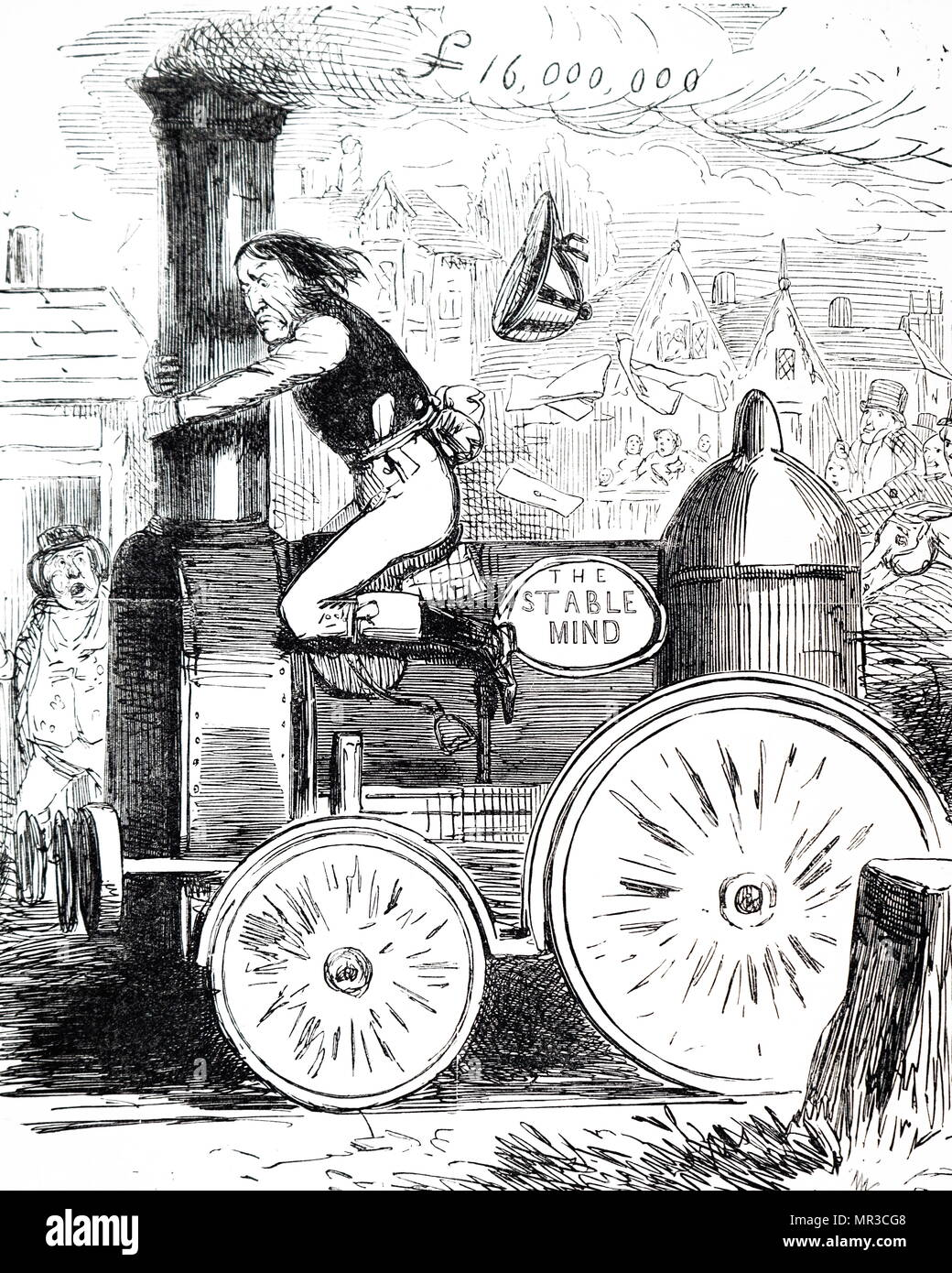 Cartoon analogy of an early train with a horse being ridden by a Jockey, (driver). English circa 1840 - Stock Image