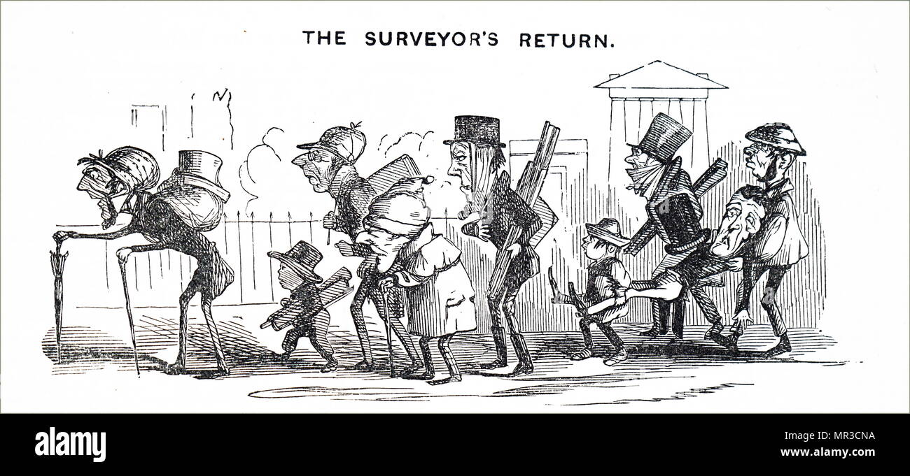 Cartoon depicting an exhausted railway surveyor carried off after collapsing at work due to the pace of railway construction in Britain 1845 - Stock Image