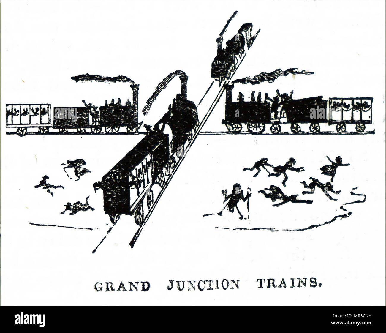 Cartoon showing overcrowded and dangerous railway junction during the early years of railway construction 1841 - Stock Image