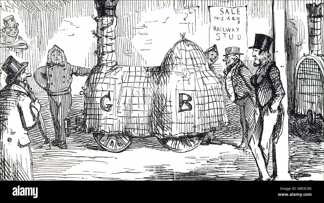 Cartoon showing a railway engineering yard, during the early years of railway construction 1841 - Stock Image