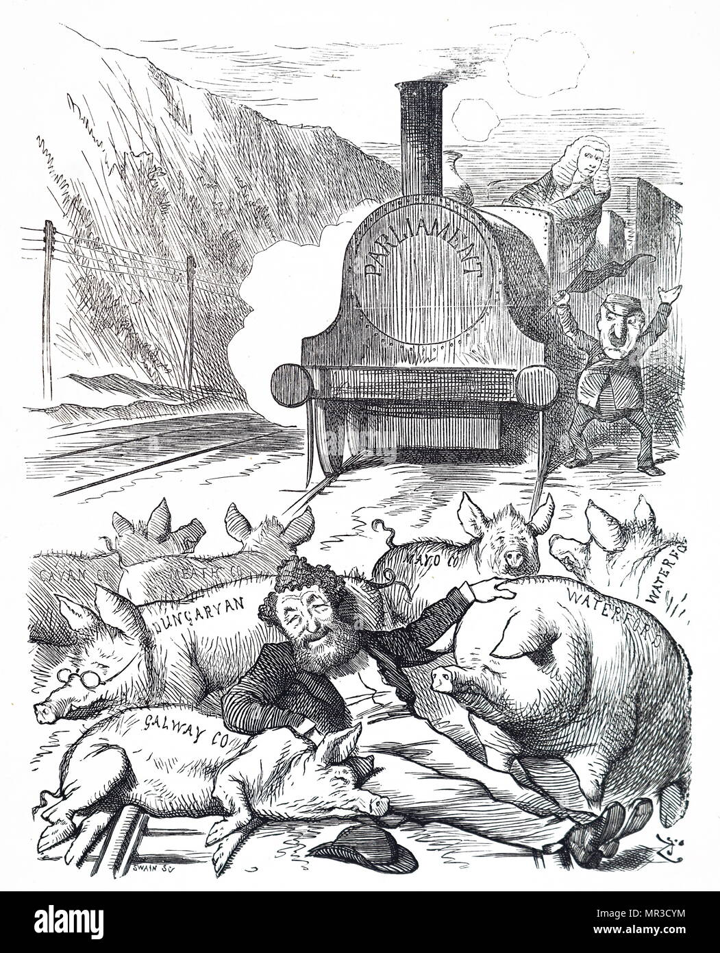 Cartoon titled 'Pig-headed Obstruction'. The cartoon depicts George Hammond Whalley (1813-1878), the MP for Peterborough, obstructing the tracks as he lies amongst pigs. The cartoon comments on the obstructive techniques of MPs to block unpopular proposals. Illustrated by Joseph Swain (1820-1909) an English wood-engraver. Dated 19th century - Stock Image