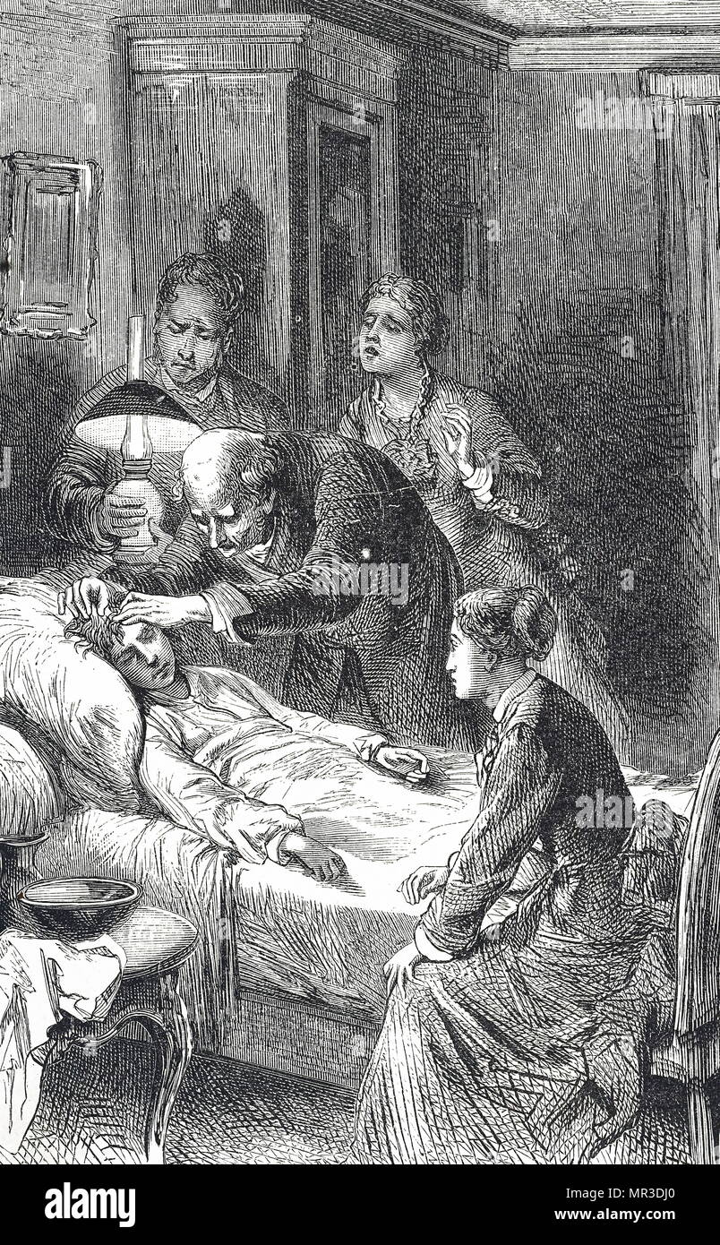 Illustration depicting a country doctor, being watched by anxious family members, tending to a boy with concussion. Dated 19th century - Stock Image