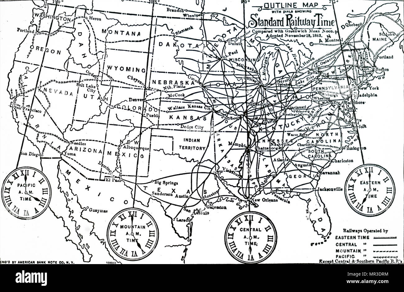 Time Zone Map Usa Stock Photos & Time Zone Map Usa Stock Images - Alamy