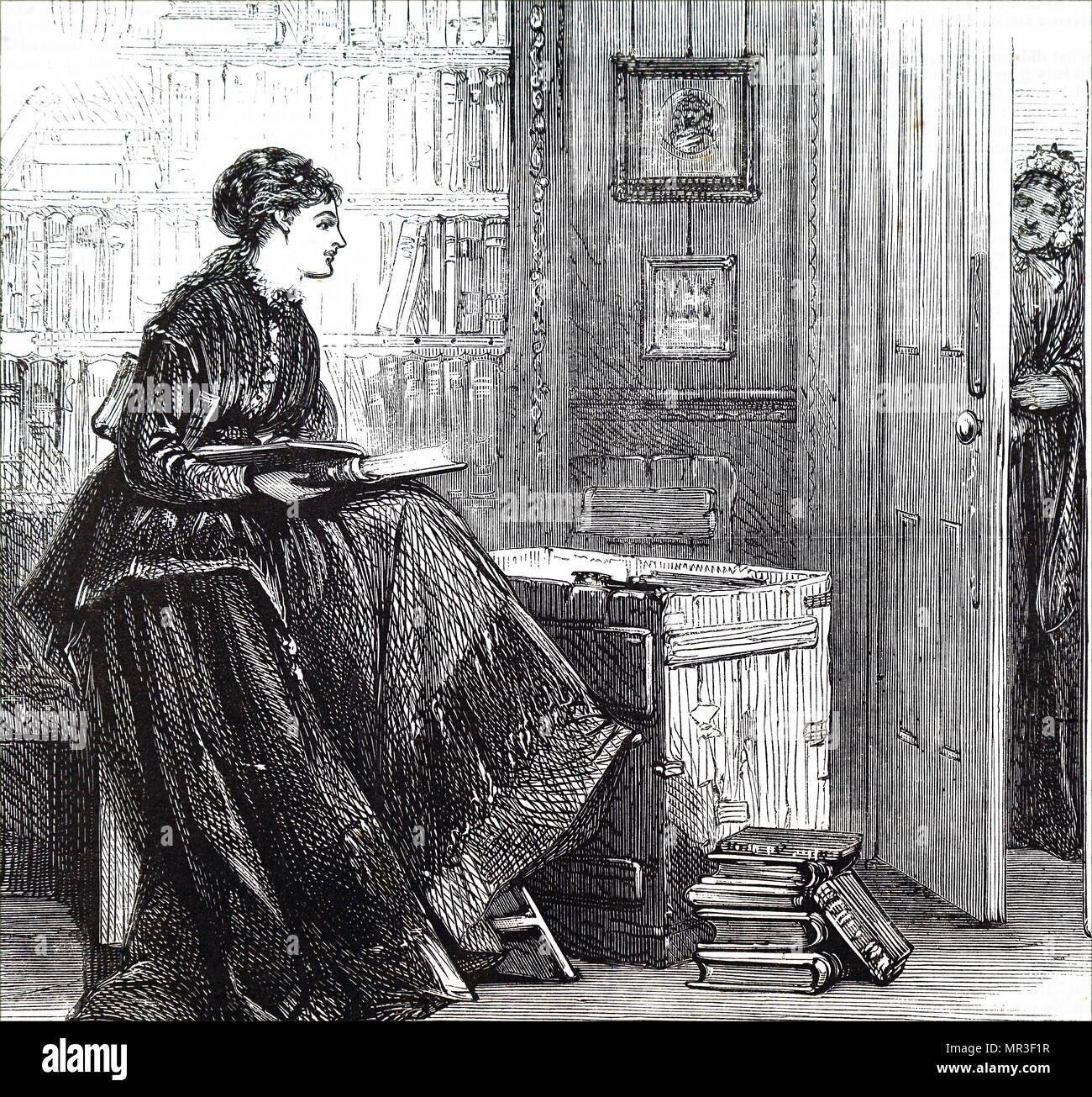 Illustration depicting a young lady reading books in the family library. Dated 19th century Stock Photo