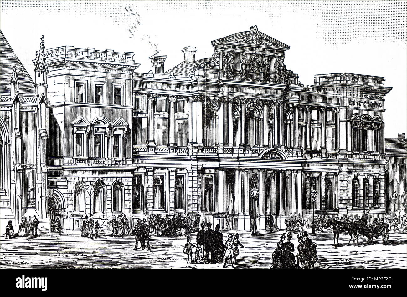 Illustration depicting the exterior of a the Free Library in Newcastle-upon-Tyne. Dated 19th century - Stock Image