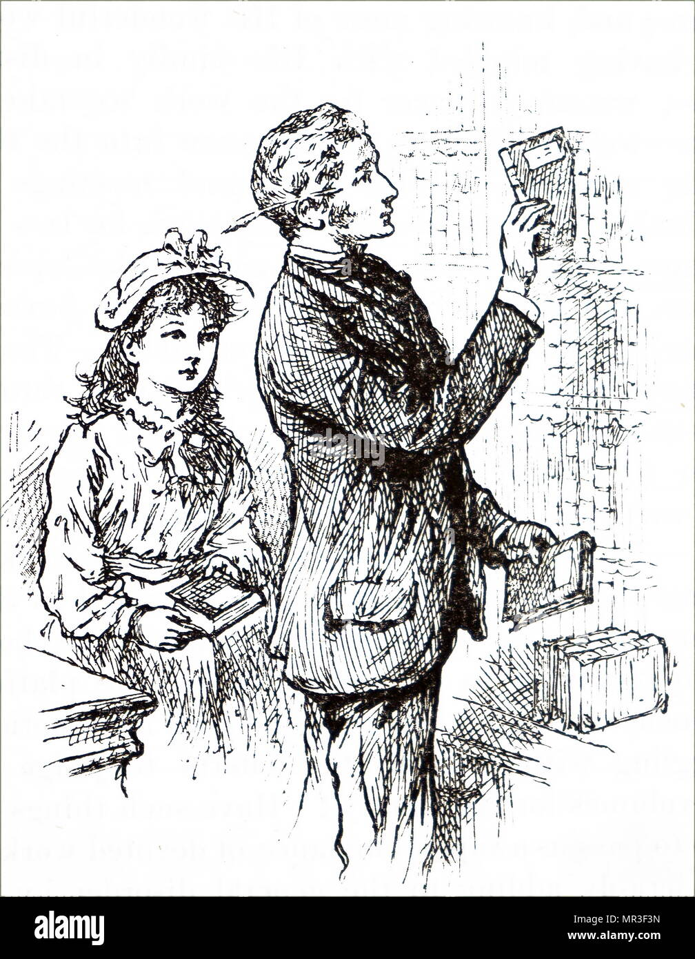 Illustration depicting a father placing books back on the bookshelf within the family library. Dated 19th century - Stock Image