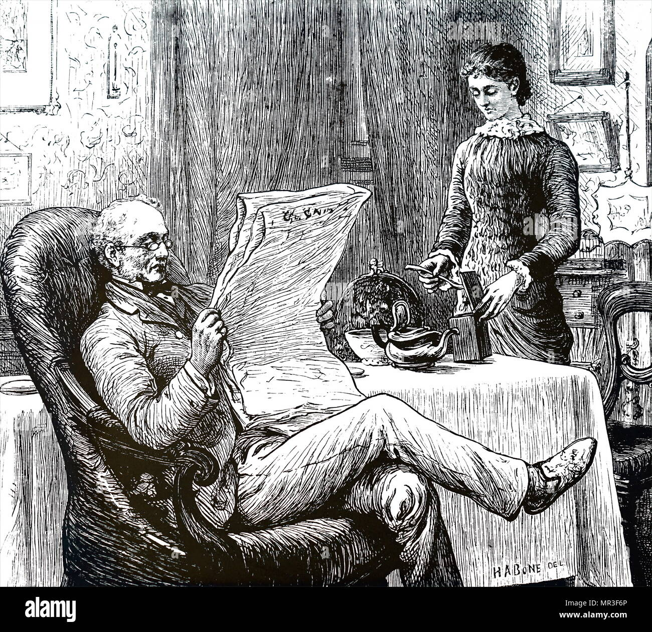 Illustration depicting an older gentleman reading his newspaper as his daughter prepares tea for him. Dated 19th century - Stock Image