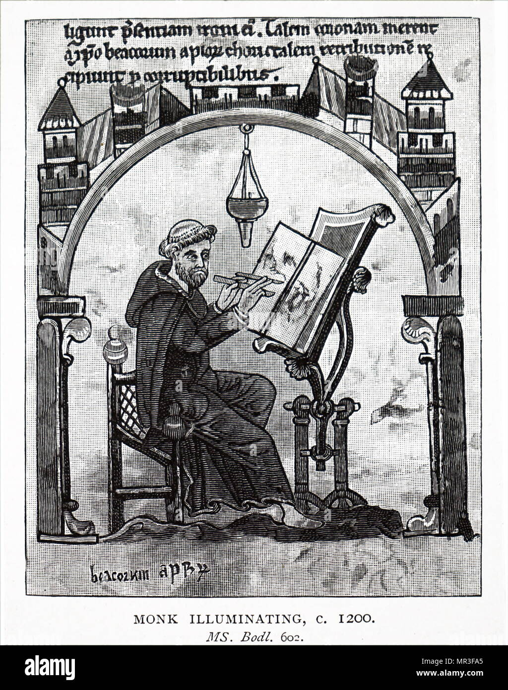 Engraving depicting a monk illuminating a manuscript. Dated 13th century - Stock Image