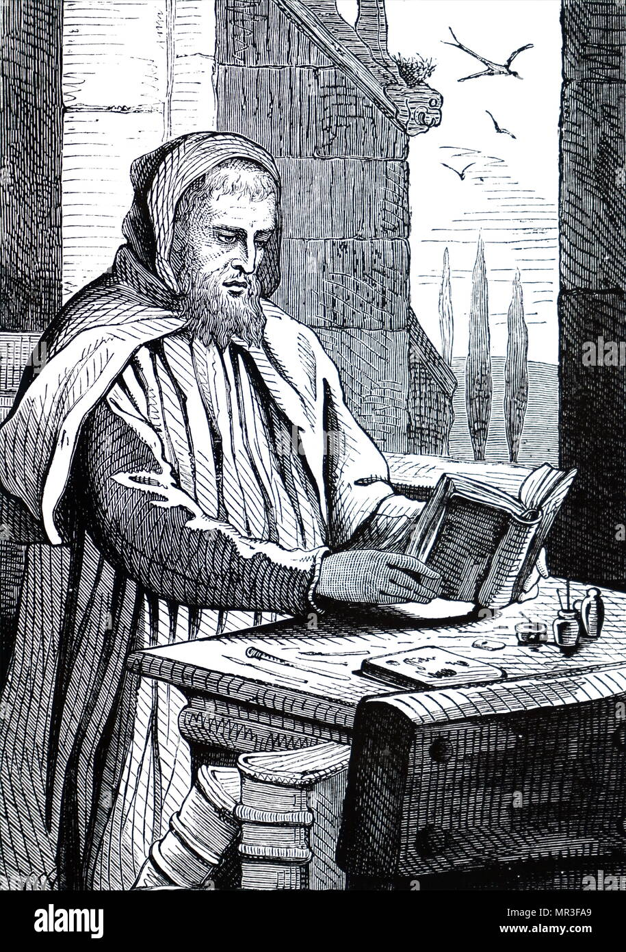 Engraving depicting a monk illuminating a manuscript. Dated 19th century - Stock Image
